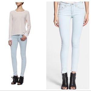 Rag & Bone High Rise White Water Skinny